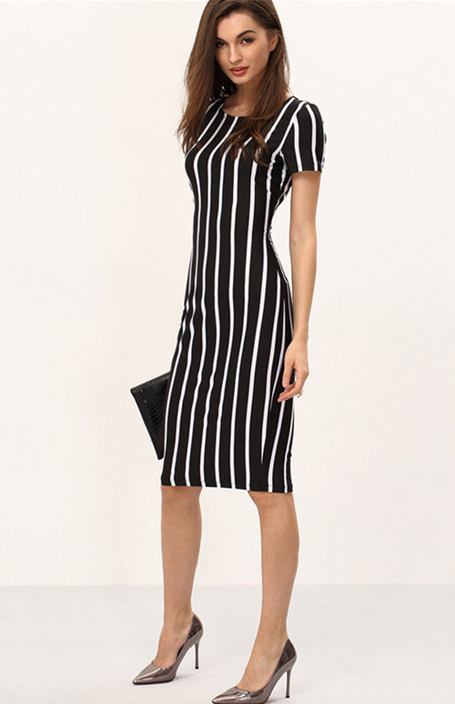vertical striped bodycon midi dress