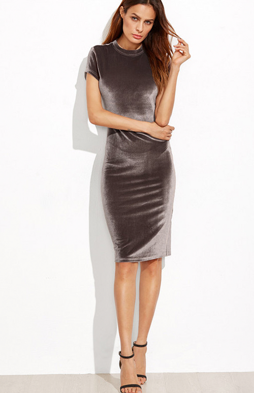 velvet sheath bodycon dress