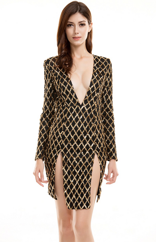 lattice cut out sequin dress