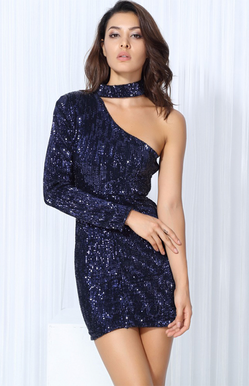 cut out shoulder short sequin dress