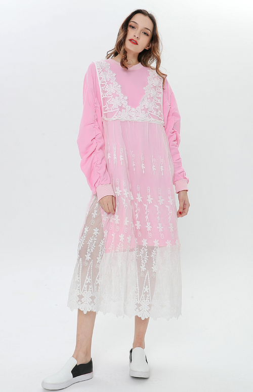 sweatshirt dress with lace vest