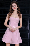 pink latex off the shoulder short dress