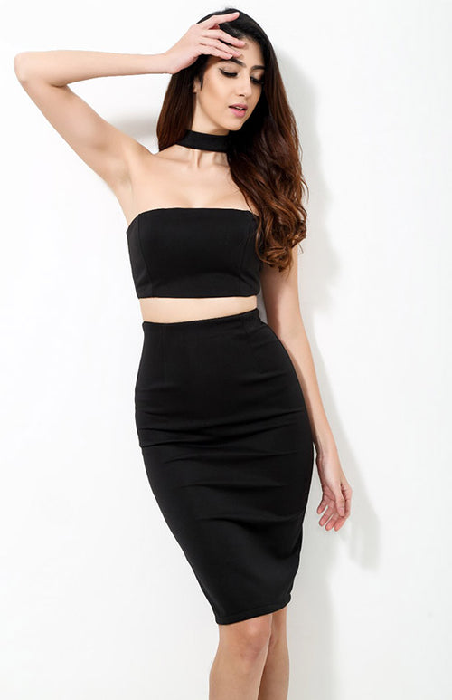 high-necked strapless two-piece set