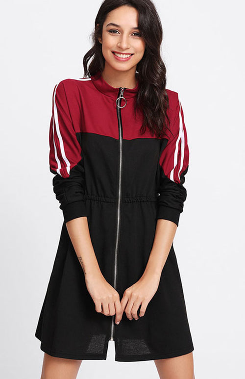 contrast sleeve zip front dress