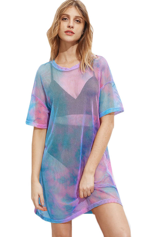 tie dye fishnet short dress
