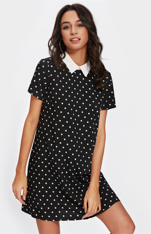 contrast collar polka dotted dress