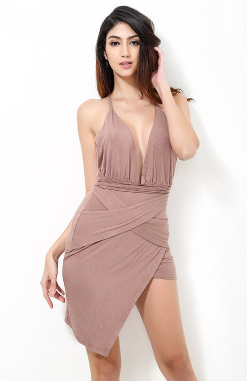 hollow out halter neck cross dress