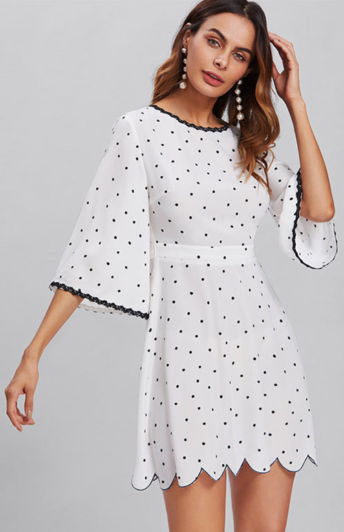 open back polka dotted dress