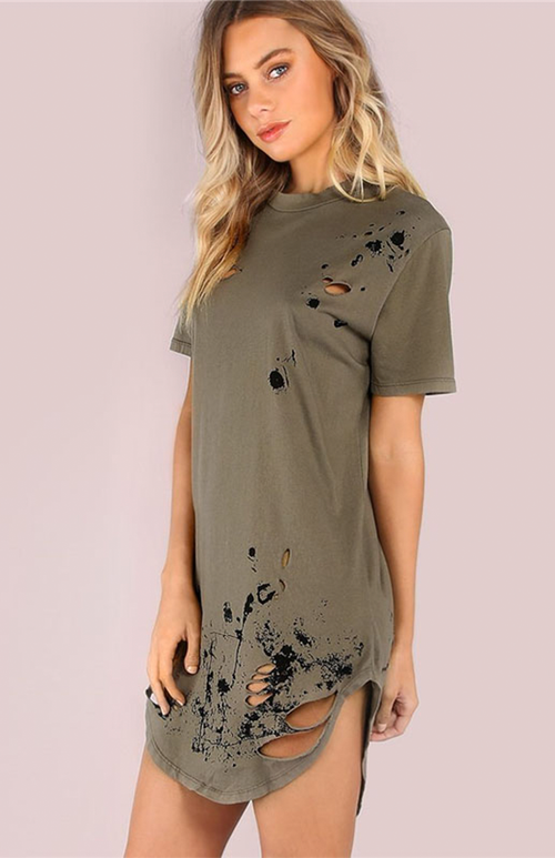 distressed army green t-shirt dress