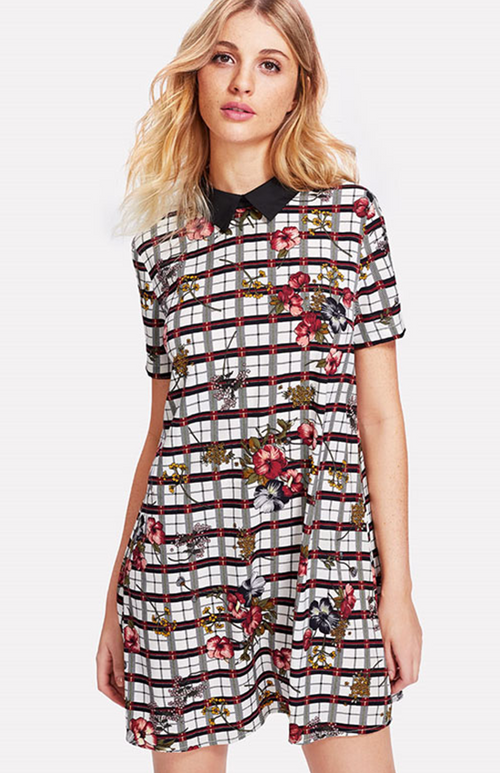 peter pan collar plaid print dress