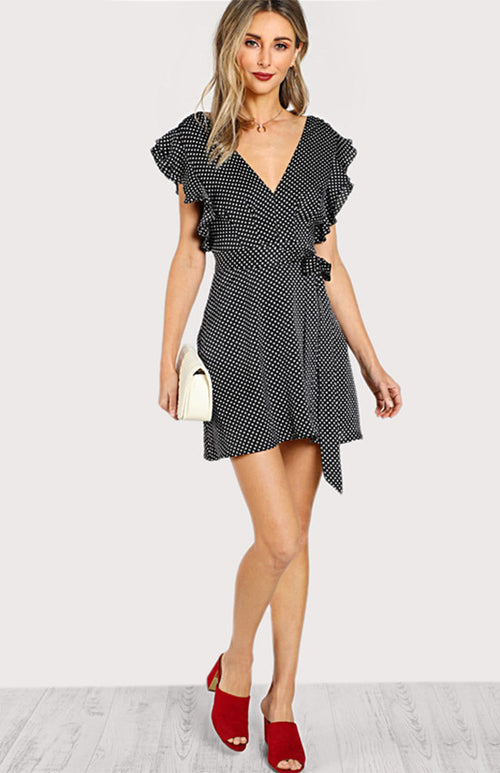 butterfly sleeve polka dots dress