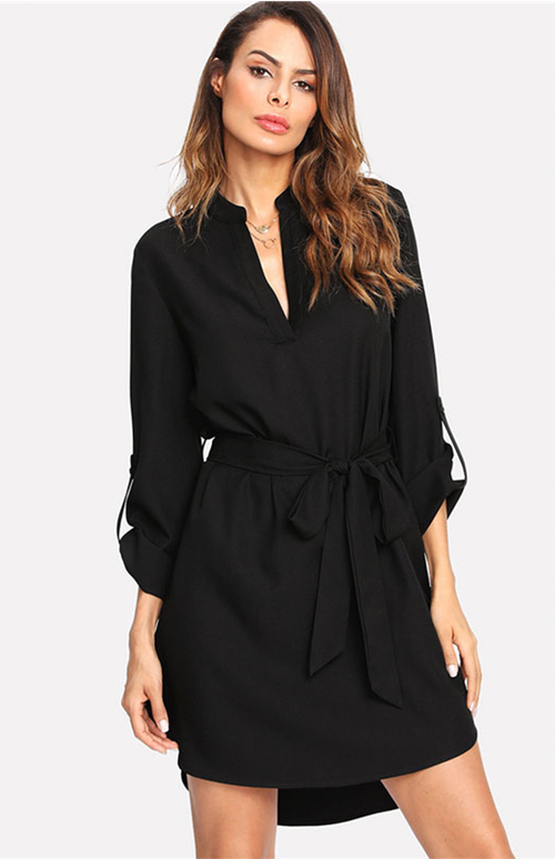 asymmetrical belted bow dress