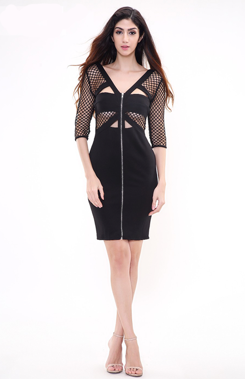 cut out dress with mesh stitching