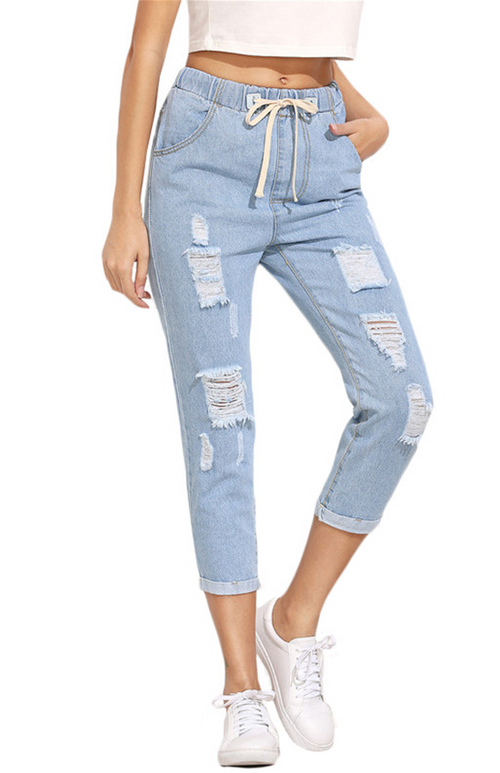 ripped blue casual trouser