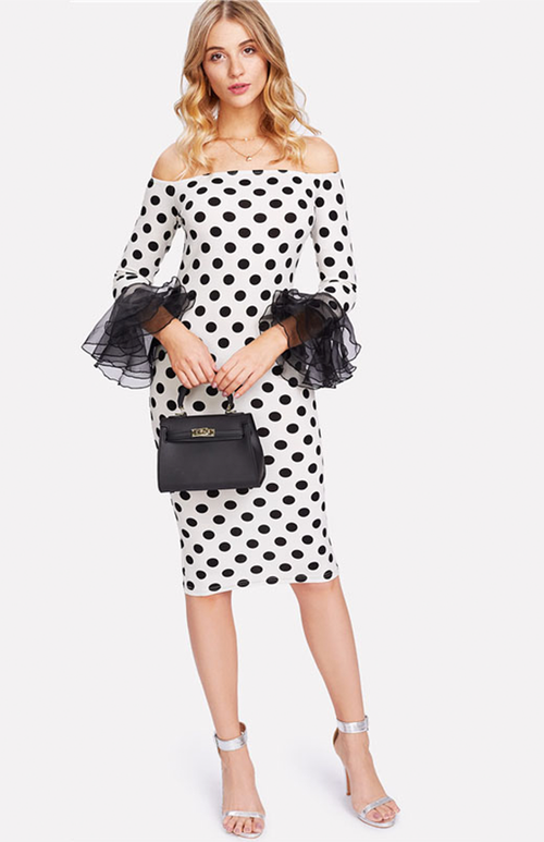detailed mesh sleeve polka dots dress