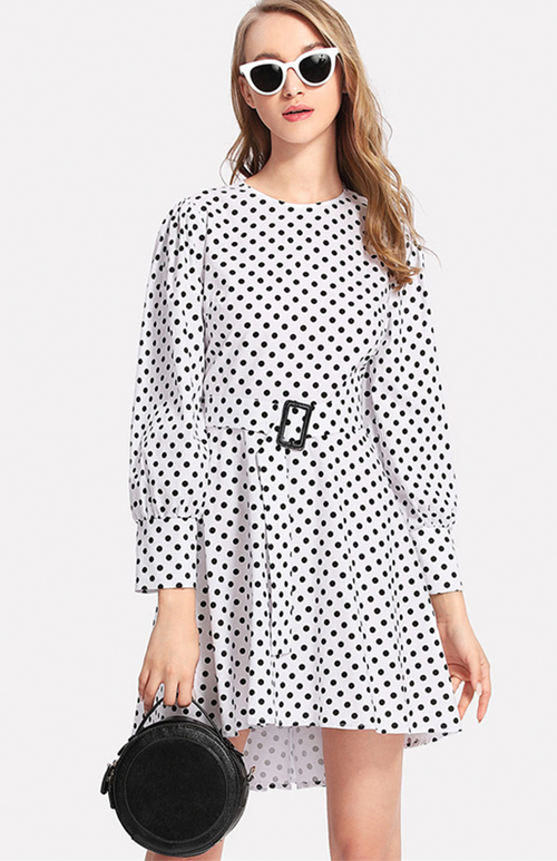 gigot sleeve belted polka dot dress
