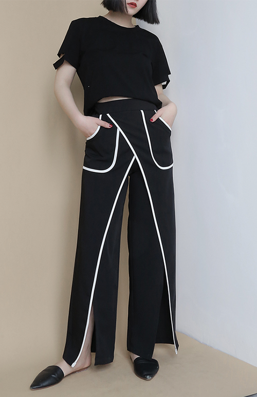 white outlined high waist split pant
