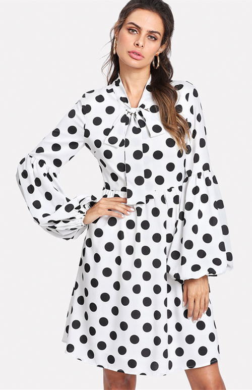 lantern sleeve polka doted short dress
