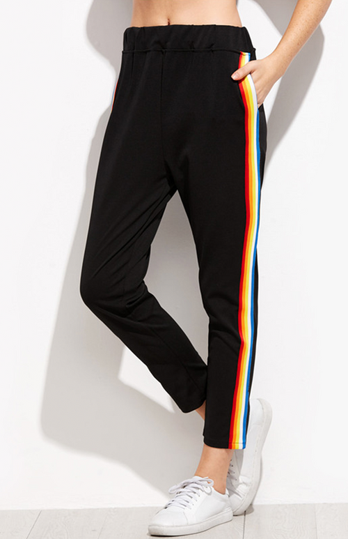 black rainbow stripe side pant