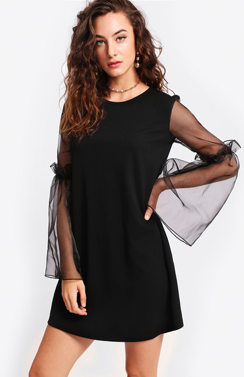 mesh sleeve black dress
