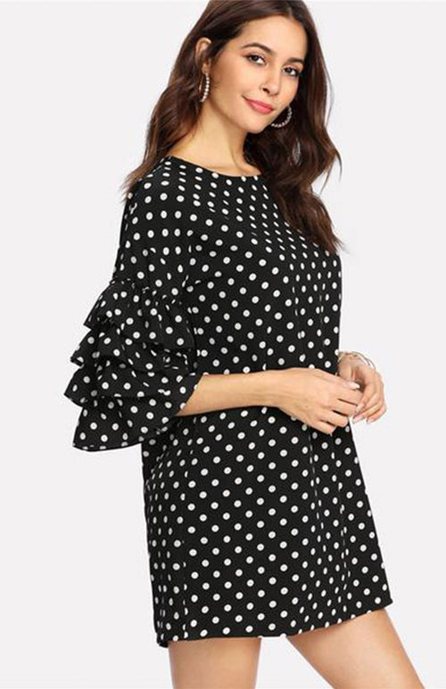 tired ruffle sleeve polka dotted dress