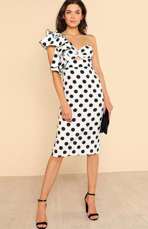 twist front ruffle detail polka dot dress