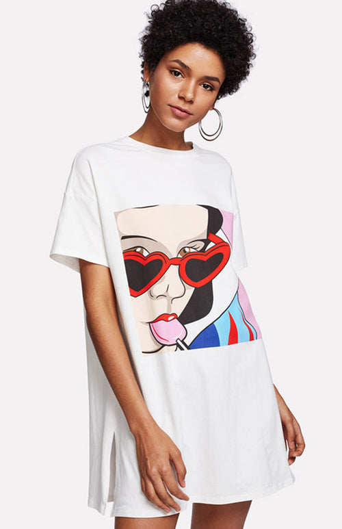 lollipop love printed t-shirt dress