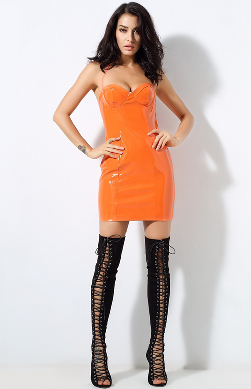 flirty orange faux leather dress