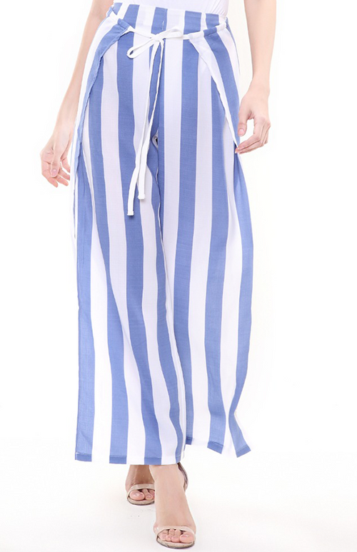 blue and white striped Irregular pant