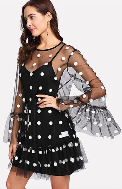 mesh overlay polka dotted short dress