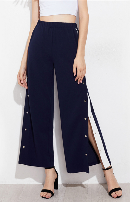 snap button contrast side pants