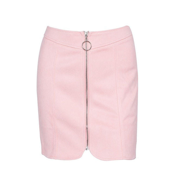 leather ring zipper short skirt