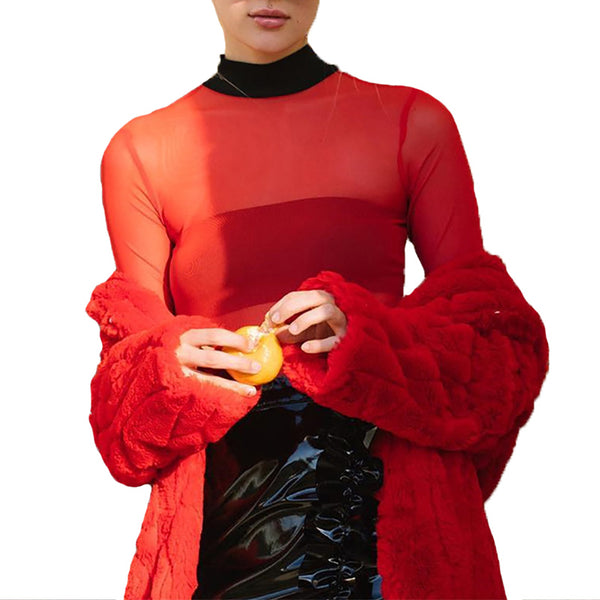 red mesh turtle neck top