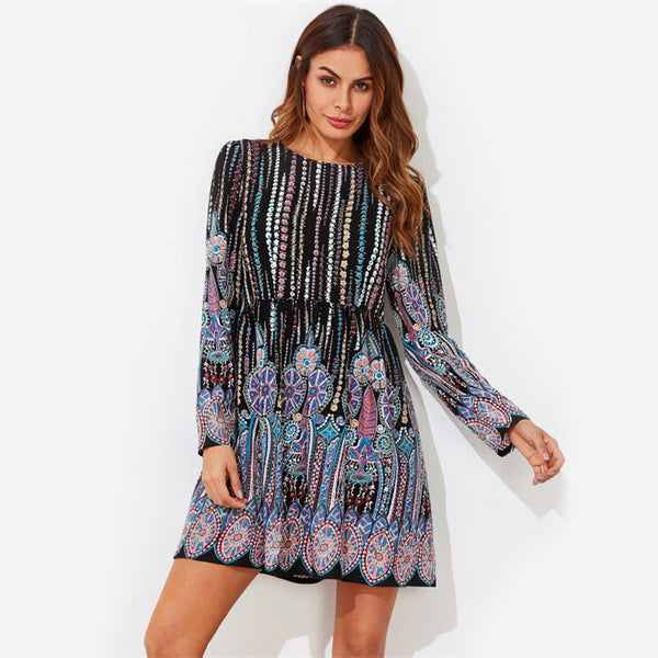 a line ornate print smock dress