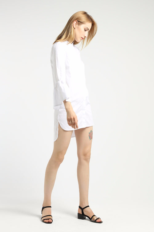 flared sleeve white shirt dress