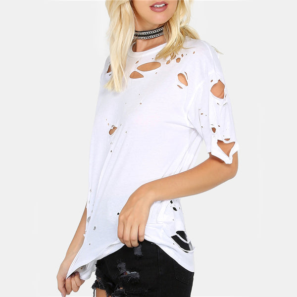 distressed white punk tee