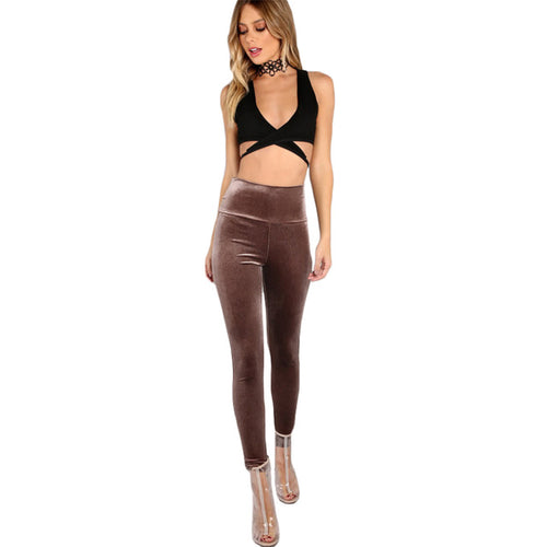 brown velvet leggings