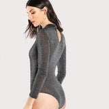 grey glitter sheer plain bodysuit