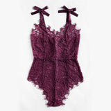 purple lace ribbon tie bodysuit