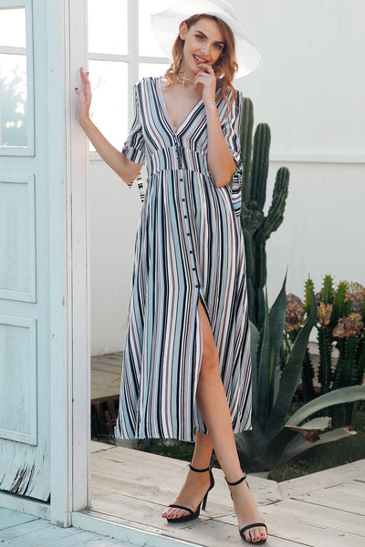 stripe maxi dress with button detail