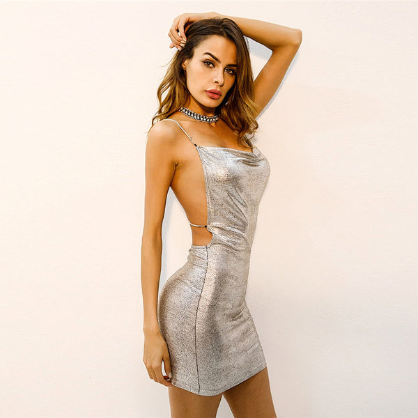 silver spaghetti strap backless dress