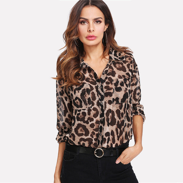 Leopard Print Curved Hem top