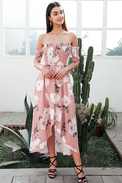 off shoulder boho style summer dress