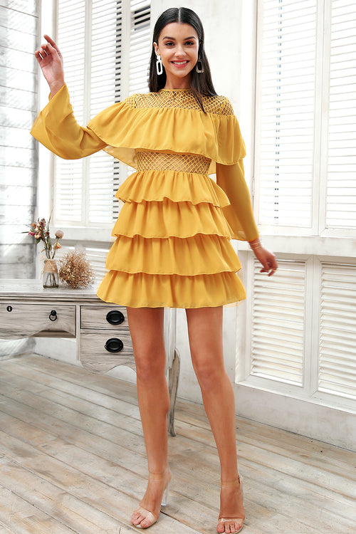 ruffled summer dress with flared sleeve