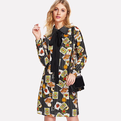 dot collar mixed print dress