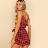two tone plaid wrap cami Romper