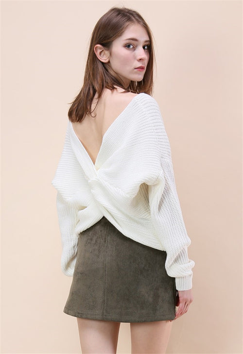 loose tie back jumper