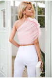 ruffle detail pink mesh top