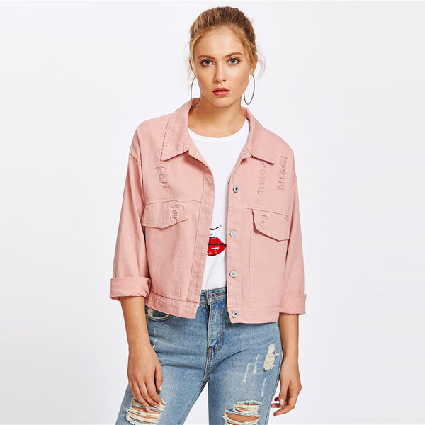 sweet pink denim jacket