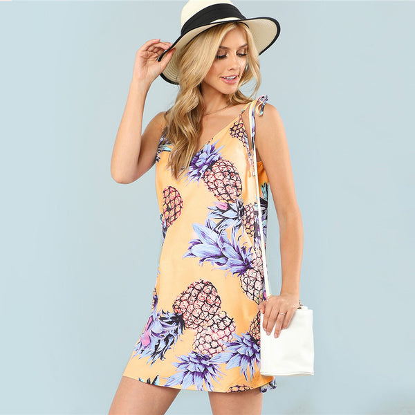 pineapple print cami dress